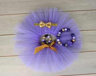 4 Piece Purple & Gold Tutu Cake Smash Outfit