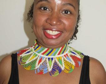 African Zulu Beaded Collar Necklace