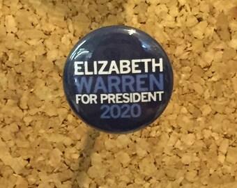 "Elizabeth Warren for President 2020 1"" pin/magnet"