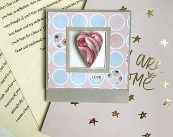 Quilling love Card - 3D Handmade Card - Quilled wedding card - Quilling heart - Unique card for her
