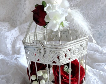 Decorative cage Wedding red and white  Wedding decoration Wedding bird cage  Decorative bird cage Wedding Decor Red Wedding Wedding Table