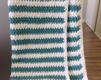 Baby Blanket-White and Teal Striped