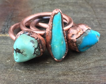 Genuine Turquoise Ring / Arizona turquoise ring / Real turquoise ring / Large turquoise / Copper ring / Gift for her / bohemian jewelry