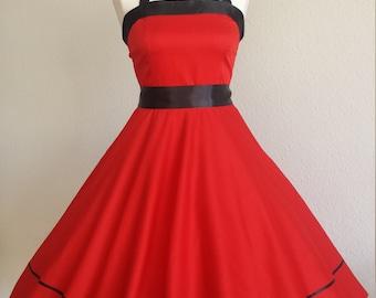 Rockabilly 50s prom prom dance dress red/black