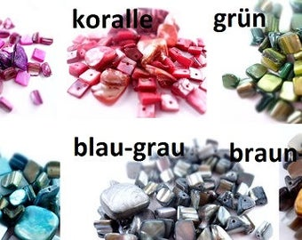 Mother of pearl beads, beads, mixed, mother of Pearl, mixed, pink green, yellow, turquoise, green, yellow, green, Brown