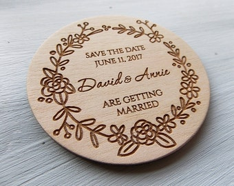 Wedding save the date, Personalized magnet, Wedding Invitation, Wooden save the dates, Rustic wedding magnet, Wedding announcement magnet