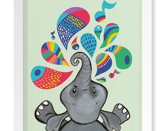 Elephant Splash! Nursery Elephant Print | Elephant Print | Elephant Decor | Elephant Picture | Elephant Art | Nursery Print