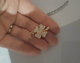 Silver heart chain and four leaf clover bookmark