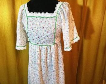 70s Floral Hippie Dress S