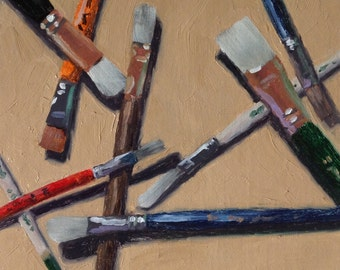 "Original oil painting ""Brushes"" 8x8 oil on linen"