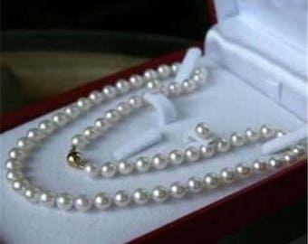 Genuine 7-8MM White Cultured Pearl Necklace & Earring Set  17 inch