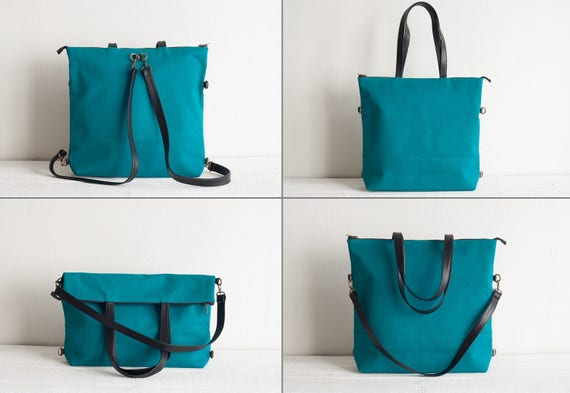 Canvas and Leather Women Tote Bag Convertible Tote Bag