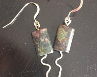 Sterling silver earrings with lace agate stone