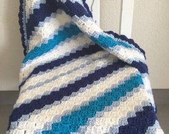 Blue / white Corner to Corner Crochet Baby Blanket
