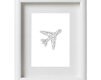 Plane Geometrical Print, Plane Wall Art, Minimalism, Contemporary, Black and White, Plane Decor, Abstract Art, Digital Print, Modern, Art