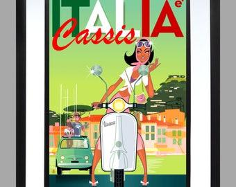 Vespa. Mod . A3 Print , Lambretta . Art . Poster , Scooter Scene