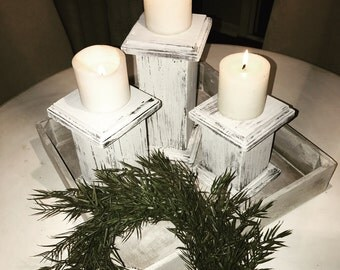 Distressed candleholders