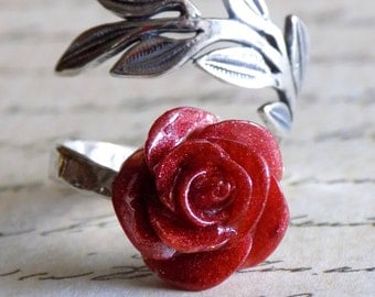 Enchanted Rose Ring, Sterling Silver, Beauty and the Beast, Belle