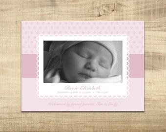 Birth Announcement - Pink Flower - Baby Girl - 5x7 - Digital File
