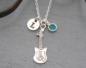Guitar Necklace, Personalized Guitar Necklace, Silver Guitar Necklace, Initial Necklace, Guitar Jewelry, Electric Guitar Necklace, Custom