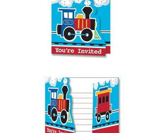 8 CT First Birthday Train Fill-In Invitations/ Train Birthday Party Invitations/ Train Partyware/ Train Party Supplies