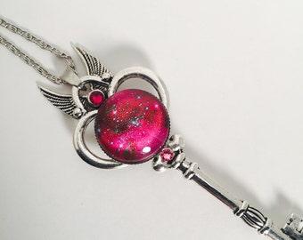 Hot Pink galaxy skeleton key silver necklace