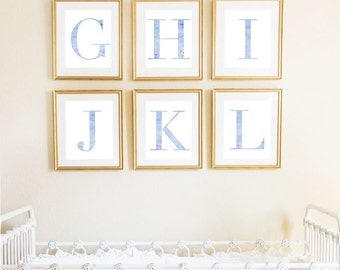 Letter I | Nursery Print | Nursery Art | Alphabet | Instant Download | Digital Print | Wall Art | Baby Boy | Initials | Blue | Watercolor