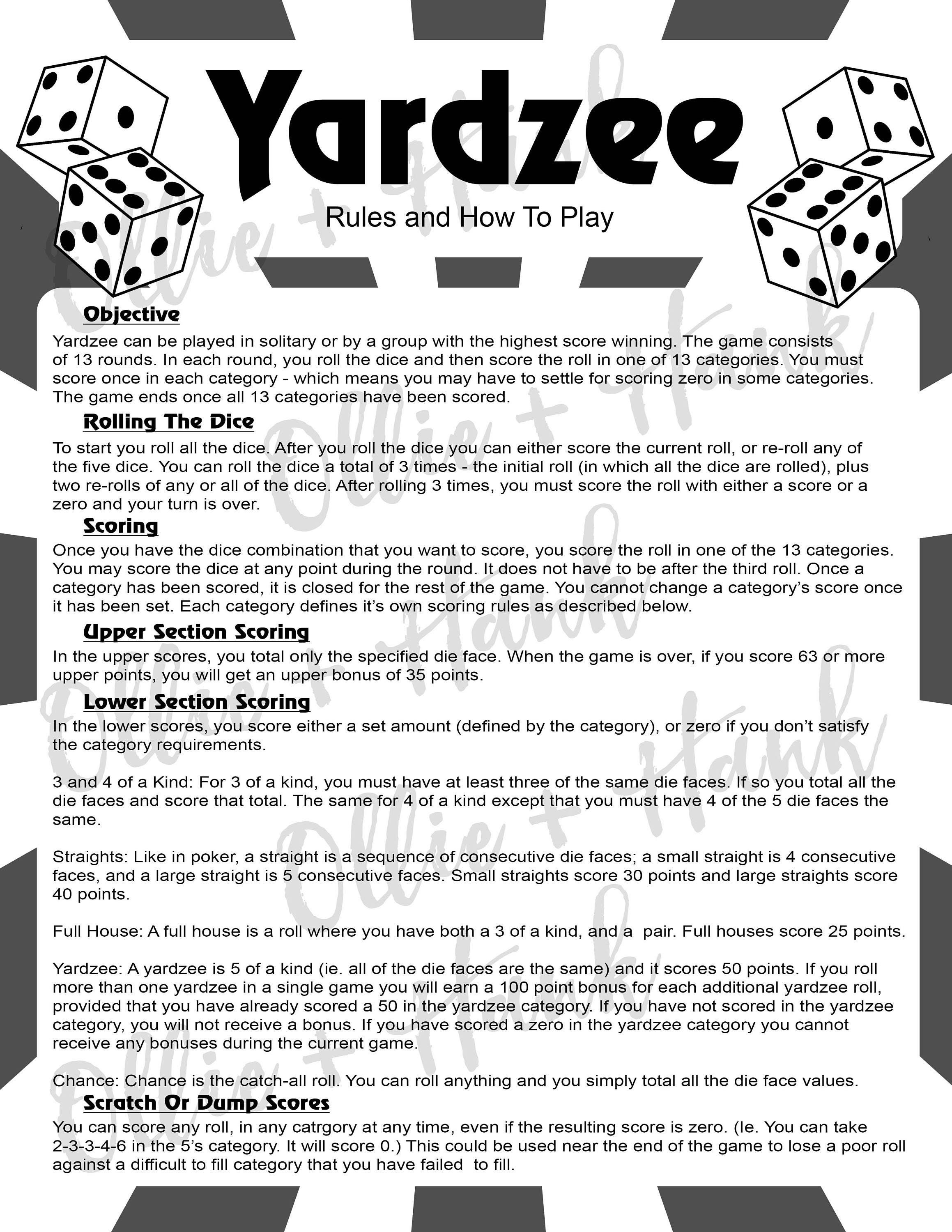 Revered image within free printable yardzee rules