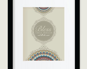 Bless this House, Printable Art, Inspirational Print ,Typography Quote, mandala Home Decor, Motivational Poster, Wall Art