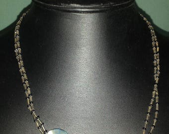 Silver and gray shell necklace
