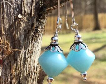 Powder Blue Vintage Bead Earrings