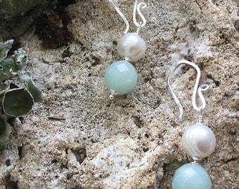 Faceted Amazonite and Freshwater Pearl Earrings