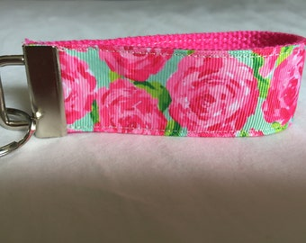 Lilly Inspired Pink/Green Floral Key Fob/Wristlet. Lilly Pulitzer, key holder.
