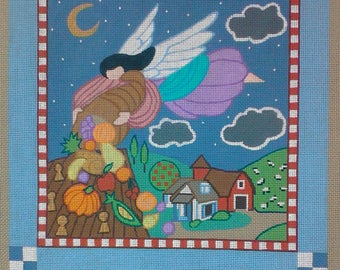Handpainted Needlepoint Canvas with Harvest Angel