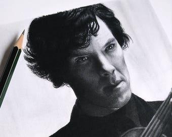Sherlock Holmes A4 Graphite Portrait Art Print