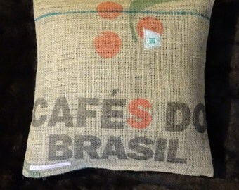 """Pillowcase original coffee bag cushion """"Brasil"""", ca. 40 x 40 cm"""