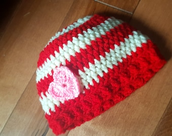 Red and White Infant Baby Toddler Hat