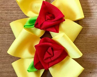 Yellow hair bows- beauty and the beast-red rose