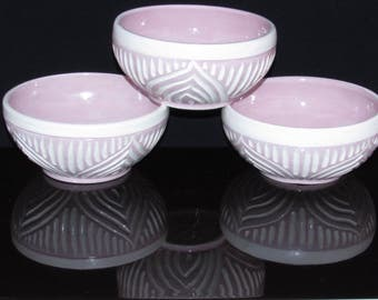 Handmade ceramic muesli bowl set, ceramic muesli bowl set, pastel pink bowl set, set of 3