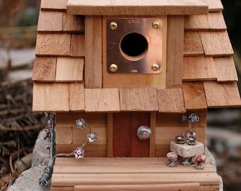 Unique Birdhouse, Cedar Birdhouse, Wooden Birdhouse, Mother's Day Gift, Housewarming Gift, Birthday Gift, songbird, wren, cabin, tea for two