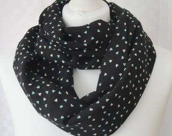 Heart print infinity scarf, Circle scarf, Scattered hearts print scarf, Scarf for her, Lightweight scarf, Fashion scarf