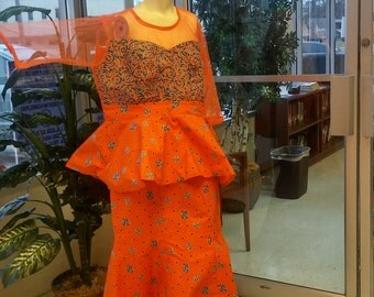Polka Dot African  Ankara Orange Skirt and Peplum Blouse With Lace Net