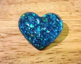 Resin Glitter Heart Pin