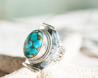 Turquoise Ring ~ Sterling Silver 925 ~ Handmade ~ Statement ~ Jewelry Gift for her~ Boho ~ Hippie ~ Bohemian ~ One of a Kind ~ Maresia MR076