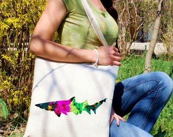 Sea sand tote bag -  Shark shoulder bag - Fashion canvas bag - Colorful printed market bag - Gift Idea