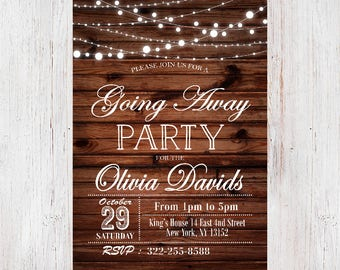 going away party invitationsgoing away party invitation printablefarewell inviterustic invitation - Going Away Party Invite