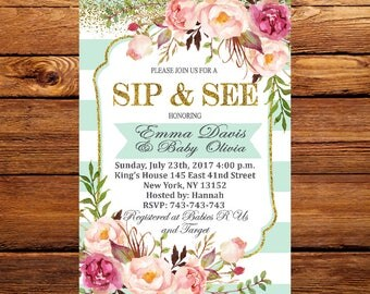 Sip and See Invitation, Sip and See Invites,Floral Sip And See Invitation Printable or Printed, Flower Shabby Chic Sip n See Invite 190