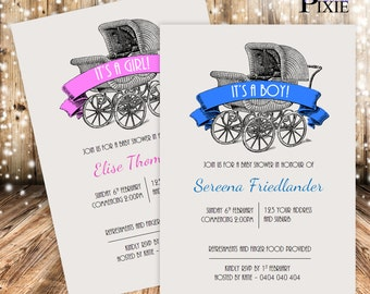 Carriage - INVITATIONS  (Baby Shower)