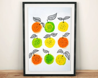 PRINTABLE wall art Vitamin C gouache painting