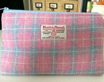 Harris Tweed cosmetics bag - pink blue check
